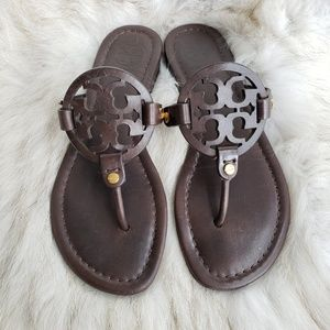 Tory Burch Coconut Brown Leather Miller Sandal 7M